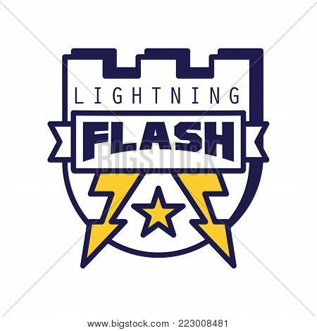 Flash lightning logo template, badge with lightning symbol, design element with shield for company identity vector Illustration on a white background