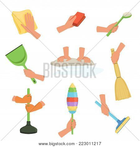 Colorful set of human hands using rag, dust brush, mop, broom, scoop and plunger. Equipment for cleaning house or car. Cartoon vector illustration in flat style isolated on white background.