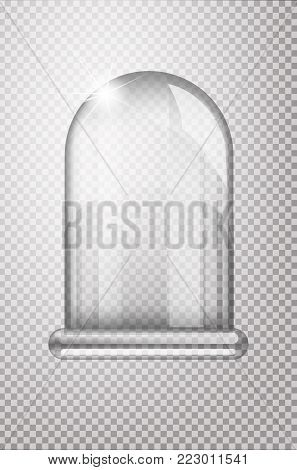 Magic crystal flask of glass. Empty snow bulb. White transparent glass flask on a stand. Vector christmas glass bulb on transparent background. Transparent object for design, mock-up.
