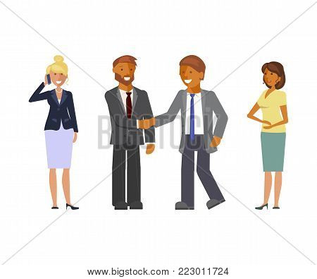 Business Team. Cartoon flat design businessmen and businesswomen characters. Office teamwork concept. Vector illustration eps 10