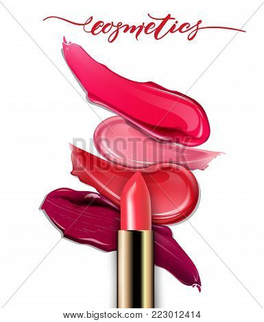 Lipsticks closeup and smears lipstick on white background. Cosmetics commercial, beautiful style. Exquisite smear, glamorous magazine, beauty concept.realistic mockup, vector illustration