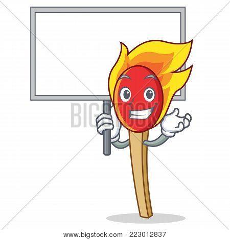 Bring board match stick character cartoon vector illustration