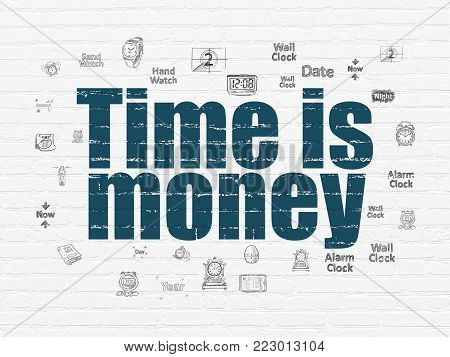 Time concept: Painted blue text Time is Money on White Brick wall background with  Hand Drawing Time Icons