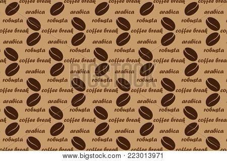 Coffee vector pattern - brown pattern with text, Coffee beans with  text arabica, robusta and coffee break