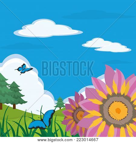 Pinetree flowers and butterfly of spring nature garden and floral theme Vector illustration