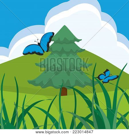 Pinetree and butterfly of spring nature garden and floral theme Vector illustration