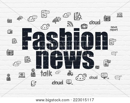 News concept: Painted black text Fashion News on White Brick wall background with  Hand Drawn News Icons