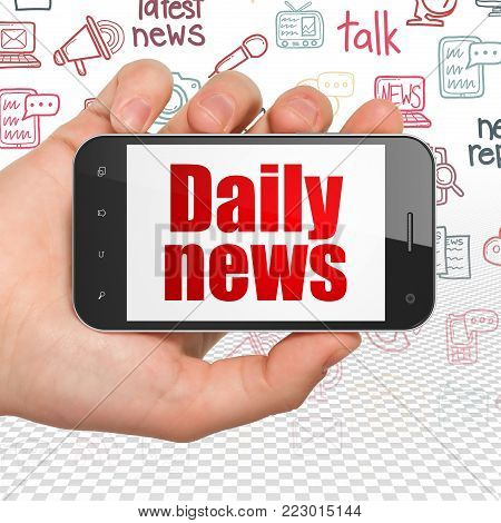 News concept: Hand Holding Smartphone with  red text Daily News on display,  Hand Drawn News Icons background, 3D rendering