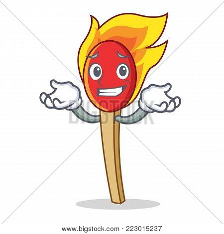 Grinning match stick character cartoon vector illustration