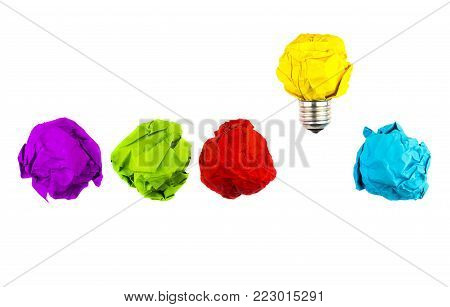 Great Idea, Standing Out Of The Crowd Concept. Crumpled Paper As Symbol Of A Light Bulb, Idea Isolat
