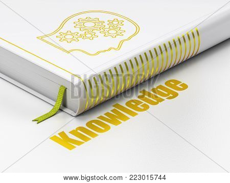 Learning concept: closed book with Gold Head With Gears icon and text Knowledge on floor, white background, 3D rendering