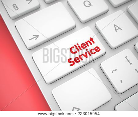 Service Concept: Client Service on the Aluminum Keyboard lying on the Red Background. Close Up View on Modern Keyboard - Client Service White Button. 3D Illustration.