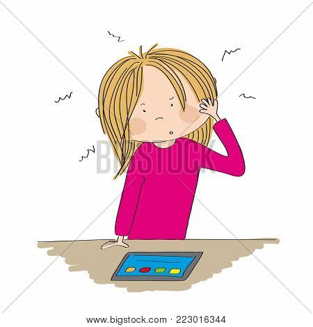 Puzzled young woman standing behind the desk, looking at the tablet, wondering what to do - original hand drawn illustration