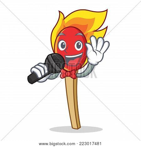 Singing match stick mascot cartoon vector illustration