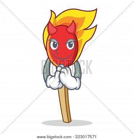 Devil match stick mascot cartoon vector illustration