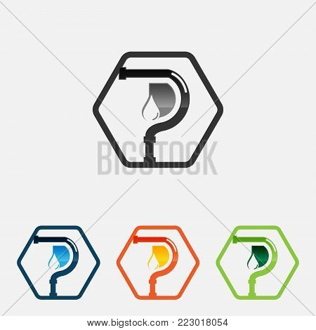 Various color of hexagon plumbing company logo vector concept. Illustration for plumber's business.