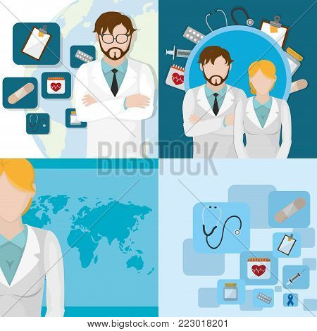 Icon set of doctors day medical health care and hospital theme Vector illustration