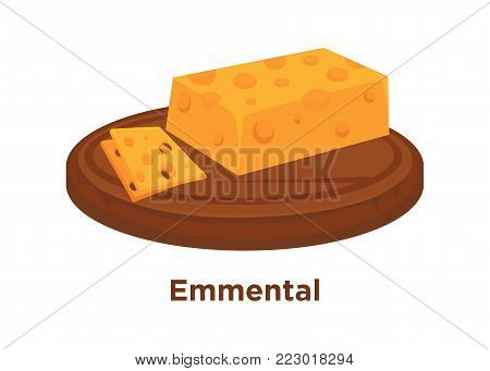 Cheese Emmental sort vector flat isolated icon. Sliced and whole piece of Swiss Emmental cheese on wooden round platter for farm market or store design template