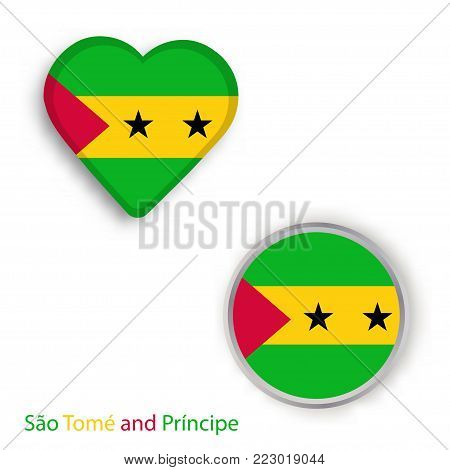 Heart and circle symbols with flag of Sao Tome and Principe. Vector illustration