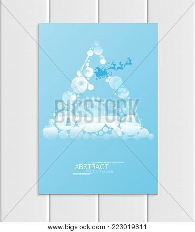 Stock vector brochure A5 or A4 format design Christmas template, abstract circles, winter landscape New Year 2018 Santa Claus in sleigh with deer glow full moon night background for printed material