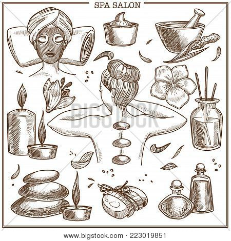SPA salon treatments sketch vector icons. Isolated set of woman body and skin care lotion, moisturizer cream, massage stone and scrub for SPA procedure or aromatherapy candles and herbal essential oil