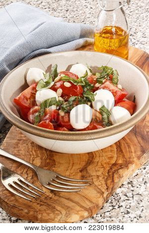 fresh tomato salad with mozzarella and basil in a bowl