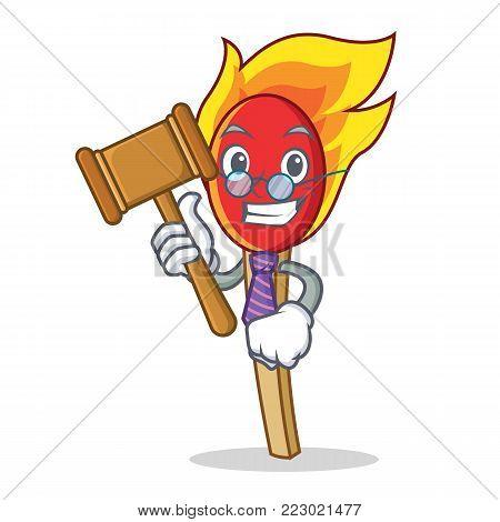 Judge match stick mascot cartoon vector illustration