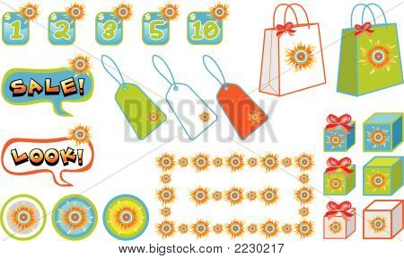 Sunny Sale Icons (Vector)