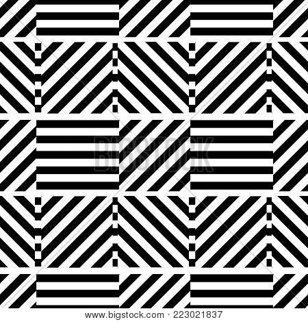 Geometric seamless black and white background with stripes. For the design of packaging, wallpaper, fabric, web. Visual distortion.