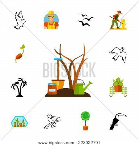 Icon set of nature symbols. Gardening, cultivation, environment. Nature concept. Can be used for topics like flora and fauna, agriculture, life