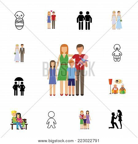 Icon set of relatives. Family, love, married life. Relationship concept. Can be used for topics like wedlock, psychology, sexual orientation