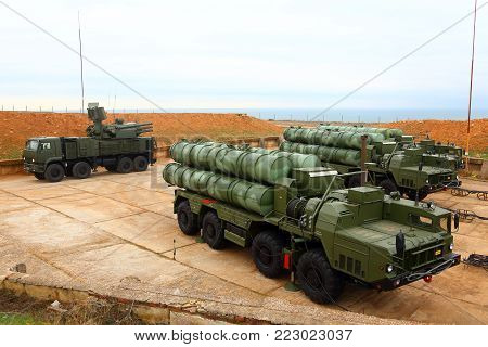 deployment of the Russian anti-aircraft missile system of large and medium range C-400 Triumf in the Sevastopol. January 13, 2018. Sevastopol, Crimea