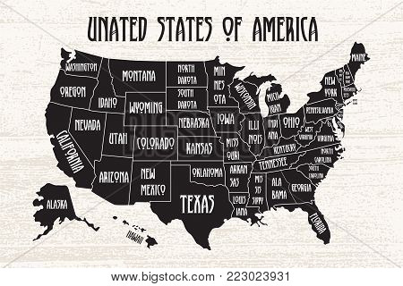 Poster map of United States of America with state names. Black and white print map of USA for t-shirt, poster or geographic themes. Hand-drawn font and black map with states. Algorithm binary, data code, decryption and encoding, row matrix .Vector Illustr