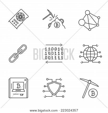 Cryptocurrency linear icons set. Mining hardware, blockchain, link, binary code, global cryptocurrency, ATM, cybersecurity, pickaxe. Thin line contour symbols. Isolated vector outline illustrations