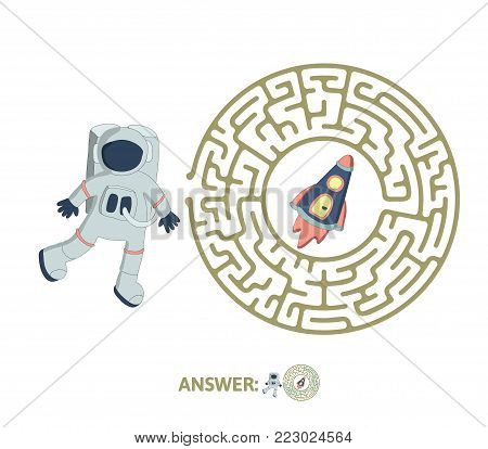Children's round maze with astronaut and rocket. Cute puzzle game for kids, vector labyrinth illustration.