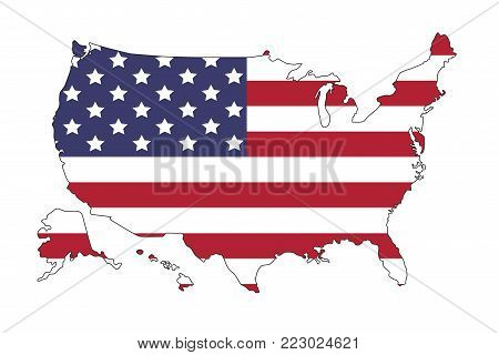 United states of America map with flag. North America. Illustration on white background.