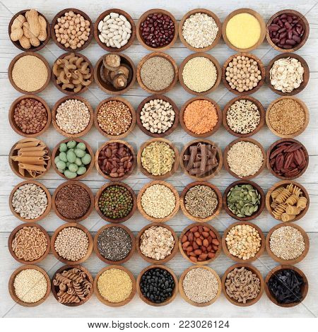 Dried macrobiotic super food with legumes, seeds, nuts, cereal, vegetables, grains and whole wheat pasta with foods high in protein, omega 3, anthocyanins, antioxidants, minerals and vitamins.