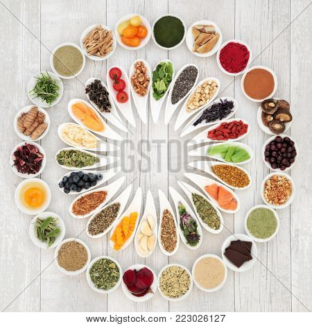 Health food concept to improve brain power and cognitive functions. Super foods very high in vitamins, minerals, antioxidants, omega 3 and anthocyanins. Top view.