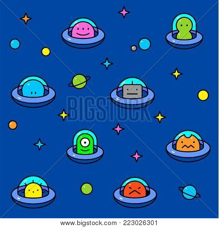 UFO aliens collection, different colorful extraterrestrials in flying saucers with stars and planets, thin line cartoon style, baby vector seamless pattern on blue background