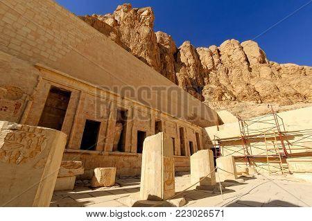 Ruins of Hatchepsut Queen temple in Luxor, Egypt