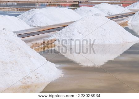 Sea salt mining, produced from the evaporation of seawater.