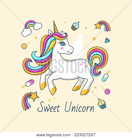 White cute unicorn with inscription - Sweet unicorn. For print design. Vector  Illustration