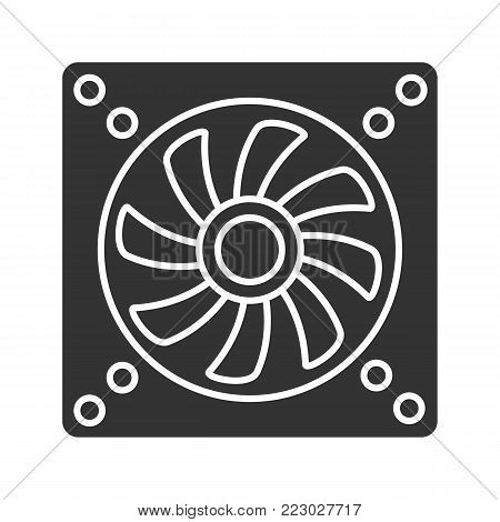 Exhaust fan glyph icon. Conditioning. Silhouette symbol. Air ventilation. Negative space. Vector isolated illustration