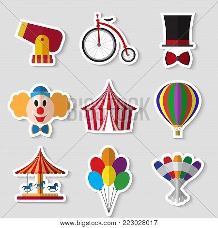 Set of  circus symbols flat icons stickers on white background vector illustration
