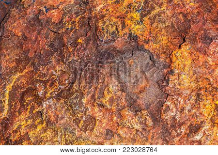 Deep corroded iron forming an abstract background.