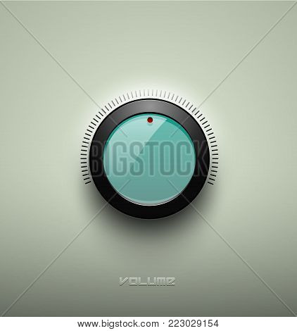 Technology music green glassy button icon, volume settings, sound control knob with black plastic ring, scale, shadow and light. Isolated on background. For internet sites, web interface, application