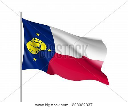 Waving flag of Wake Island. Illustration of Oceania country flag on flagpole. Vector 3d icon isolated on white background