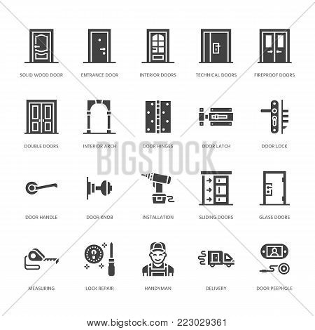 Doors installation, repair flat glyph icons. Various door types, handle, latch, lock, hinges. Interior design solid signs for house decor shop, handyman service.