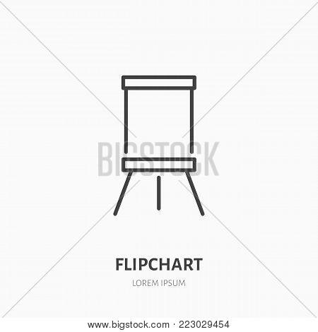 Flipchart flat line icon. Marker board sign. Thin linear logo for presentation classroom.