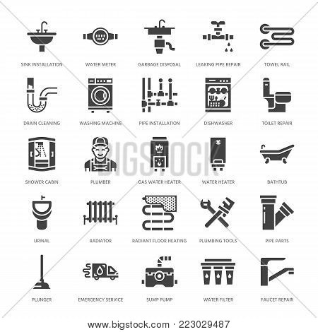 Plumbing service vector flat glyph icons. House bathroom equipment, faucet, toilet, pipeline, washing machine, dishwasher. Plumber repair illustration, solid signs for handyman services. poster